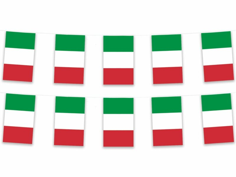 5m Polyester Italy Bunting Pennant Banner Italian Europe Football Sport Italia