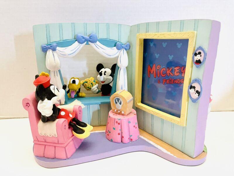 VTG Disney Mickey And Pluto Visits Minnie's House 3D Photo Frame Figurine RARE