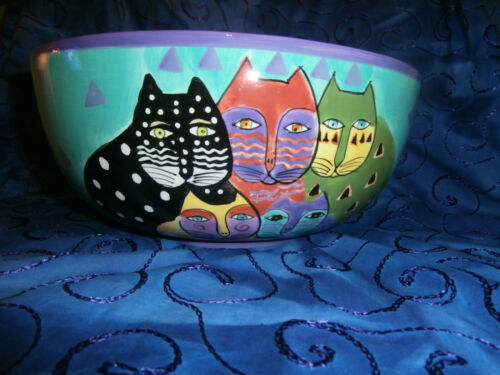VTG `LAUREL BURCH` COLORFUL CATS~1998~LARGE CENTERPIECE SERVING SALAD BOWL~EX.