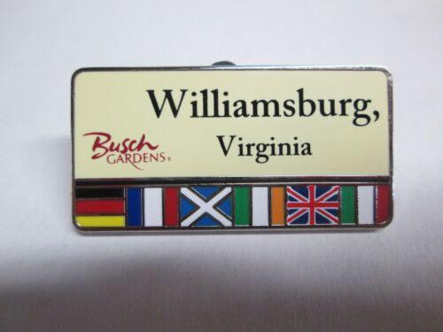 Busch Gardens Williamsburg Nametag pin Amusement Theme Park Name Tag