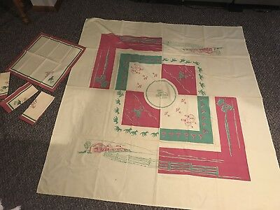 Casino Table Cloth (Hotel Last Frontier Casino Vintage Table Cloth Napkin Set Las Vegas Nevada 1942)