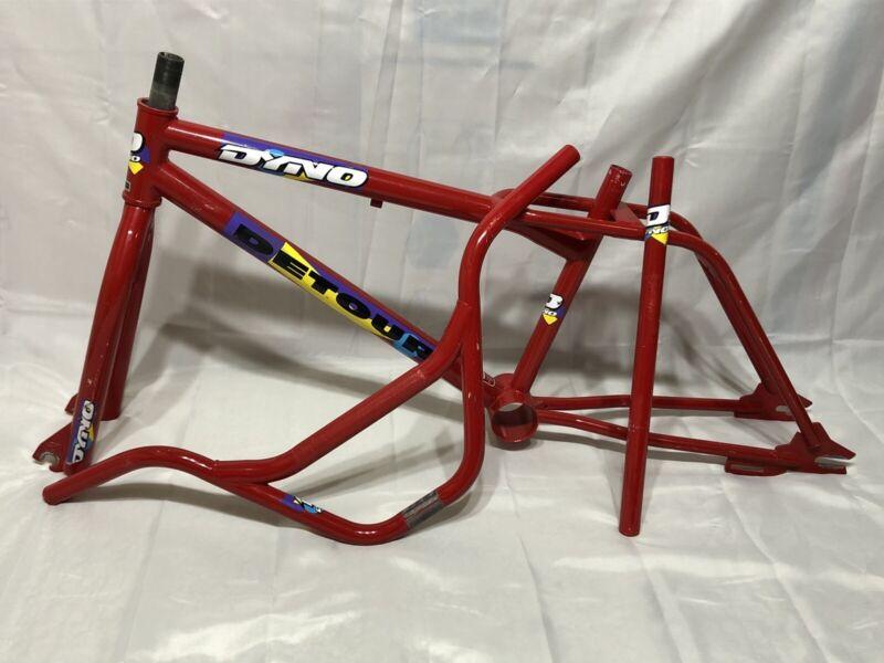 ORIGINAL PAINT DECALS 1990 DYNO DETOUR RED FRAME FORK BARS POST OLD SCHOOL BMX