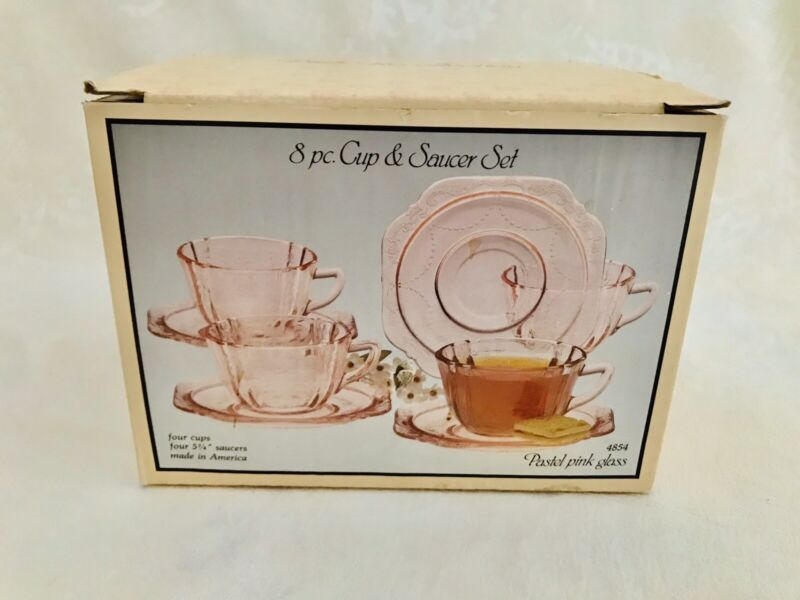 Indiana Glass Madrid Pink Recollection Tea Set 8 pc. (original box)