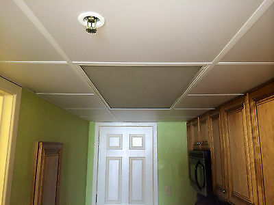 Washable PVC Ceiling Tiles - EcoTile Smooth 2' x 2' White Drop Tile Mold Free  (Pvc Ceiling Tiles)