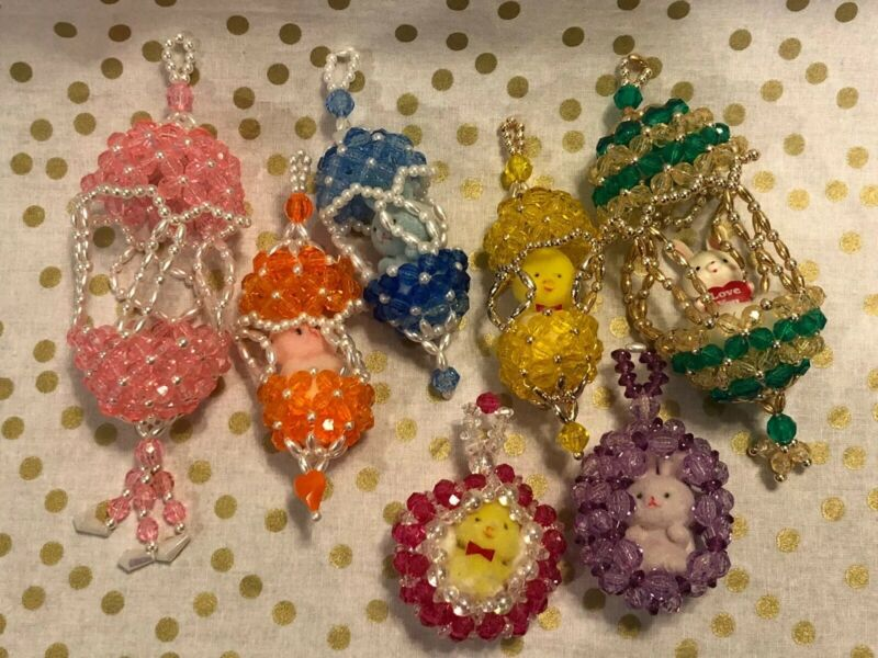 Vintage Easter Handmade Beaded Ornaments Flocked Fuzzy Bunny Chick