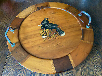 Vintage 1960s Solid Wood Tray New Zealand 1960/70'S Sovereign Woodworkers Inlaid