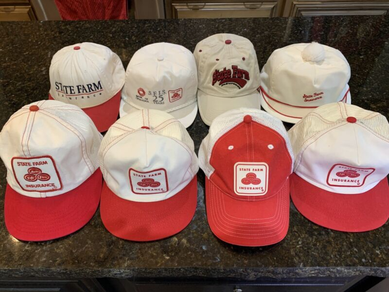 8 Vintage State Farm Insurance Hats 5 Are Snapback Excellent Condition