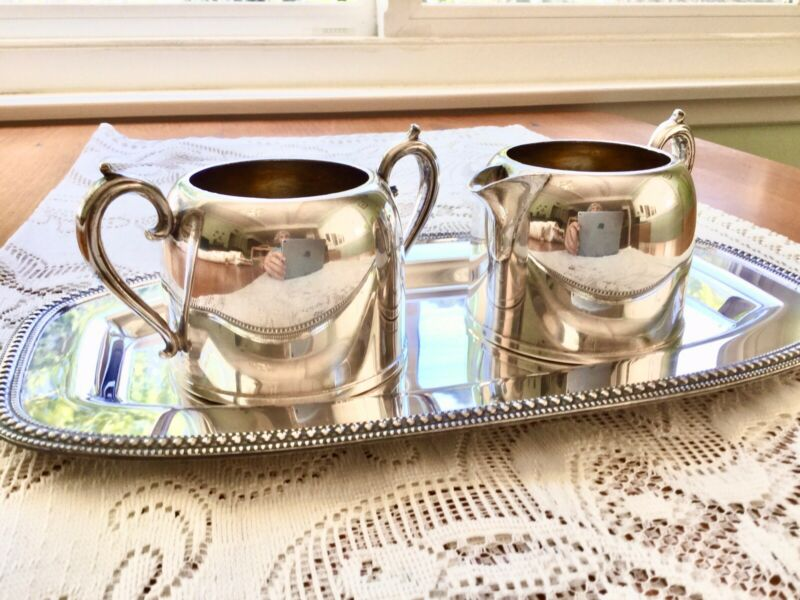 Glastonbury Silver Plated Creamer And Sugar Tray Set