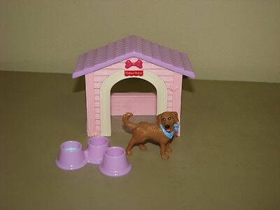 Fisher Price Loving Family Dog House Pink purple dog food bowls