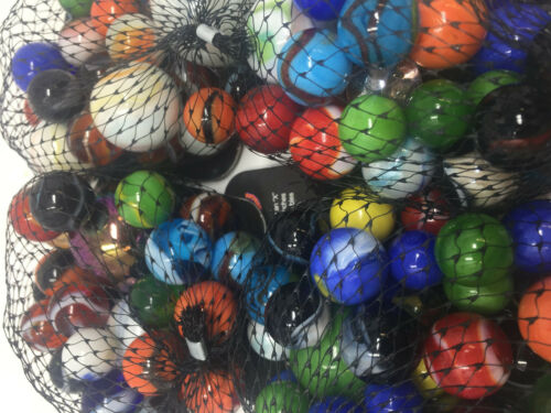 Mega Marbles Half Pound Rounds   Assorted Net of Glass Marbles