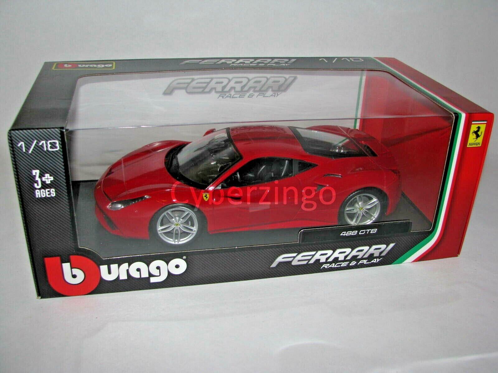Ferrari 488 Gtb Race And Play Bburago 1 18 Red Diecast Model Car Preowned Ebay