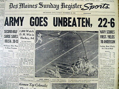 1958 Headline Newspaper Army Ends The 1958 College Football Season Undefeated