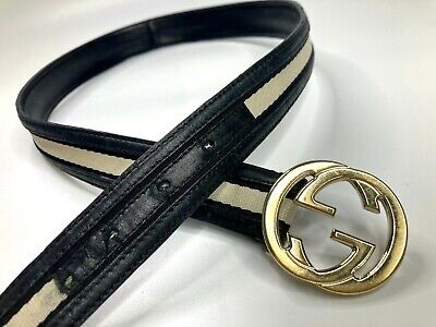 GUCCI VINTAGE OLD CHERIE WEB CANVAS LEATHER BELT MEN GG GOLD BUCKLE IVORY ITALY