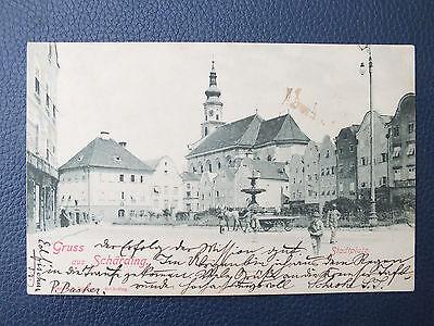 Schöne AK - Schärding - OÖ - Stadtplatz mit Personen - gelaufen 1900
