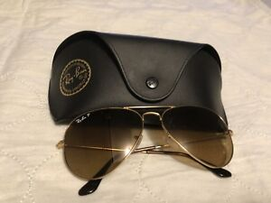 Ray-Ban aviators gold frame with brown lenses polarized!