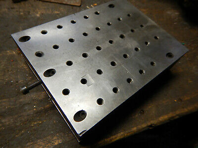 Older Machinist Adjustabl Angle Sine Plate Jig Fixture W 14-20 Holes