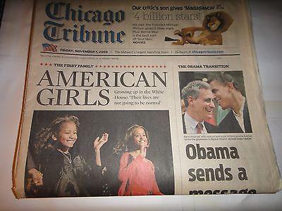 Chicago Tribune Newspaper Friday November 7  2008  American Girls Obama Transiti
