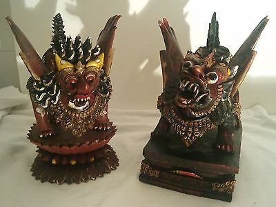Pair of Antique Wooden Flying Dragons Statue / Foo Dogs / Guardian Lions