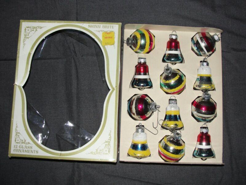 Lot Of 12 Vtg Xmas Ornaments Bells Bulbs Shiny Brite USA Box Stripes