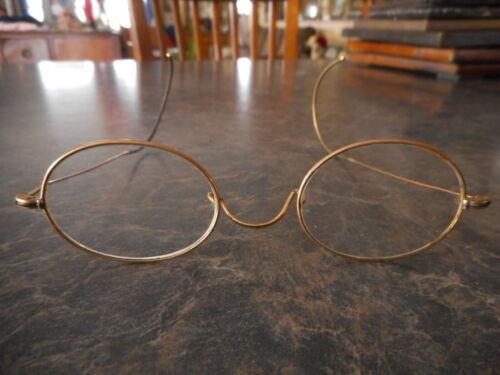 Antique VINTAGE Eye Glasses Spectacles Gold Tone Round Prescription 1920