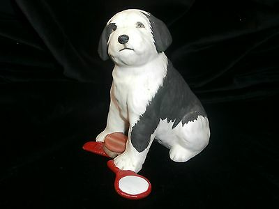 BLACK & WHITE SHEEPDOG FIGURINE BY THE FRANKLIN MINT 1988 WORLD OF PUPPIES