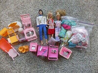 LARGE LOT - BARBIE DREAM HOUSE Furniture, 3 dolls, clothes - 13 large items +
