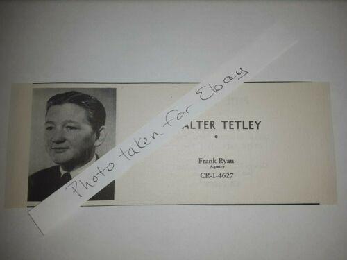 Walter Tetley Original 1940s actors casting ad