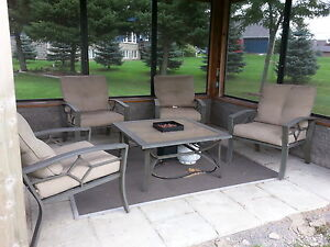 Fire pit table and 4 large chairs