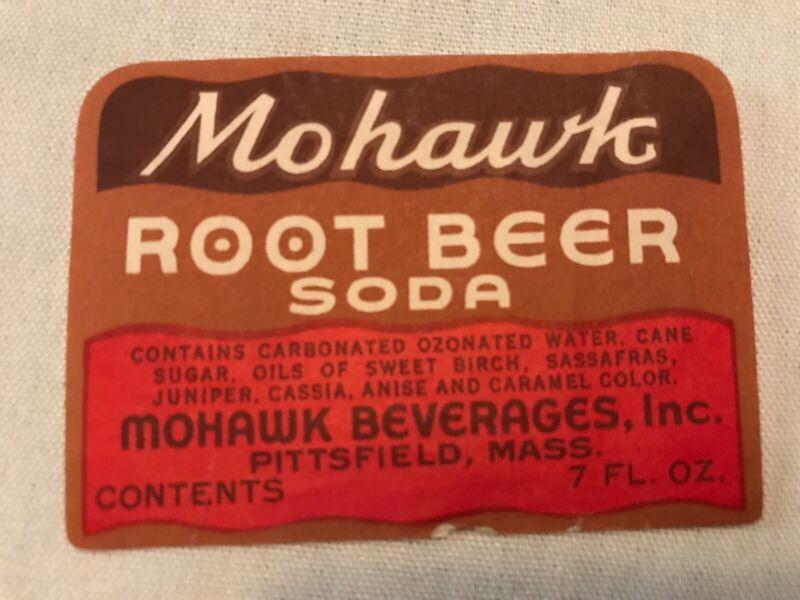 Mohawk Beverages Root Beer Soda Bottle Label, Pittsfield, Mass.