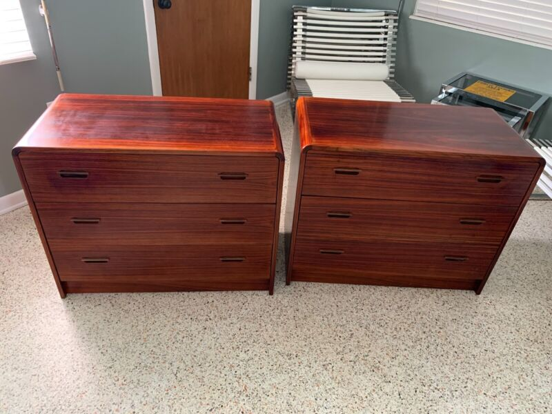 Pair (2) Danish Teak Mid Century Modern Three Drawer Dressers, Night Stands, MCM