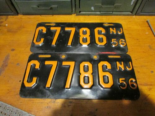 Antique New Jersey License Plates Motorcycle MC 1956 Original Paint