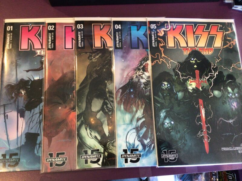KISS THE END DYNAMITE COMICS 1 2 3 4 5 / COMPLETE SET / HG / 2019 SAYGER COVERS
