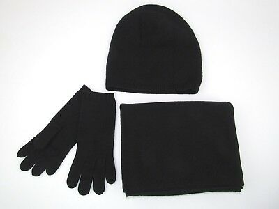 UGG WOMEN'S CASHMERE GIFT SET 1019477 BLACK SCARF BEANIE HAT GLOVE GIFT SET $298
