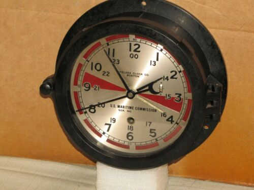 "CHELSEA VINTAGE U.S.NAVY RADIO ROOM CLOCK~6"" DIAL~1947~WW-2~RESTORED"