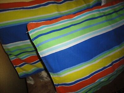 TOMMY HILFIGER STRIPED YELLOW ORANGE BLUE GREEN (2) STANDARD PILLOW SHAMS 20X25  ()