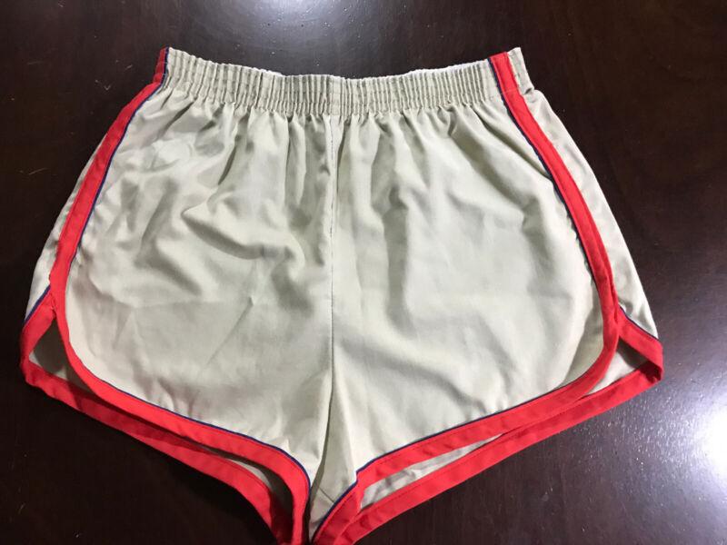 Vintage 70s Poly Blend Mens 32-34 Tan Red Gym Running Track Sprinter SHORTS EUC