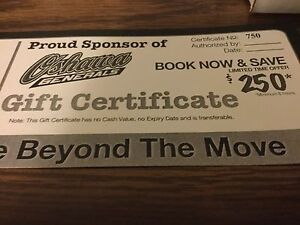 Gift certificates for moving