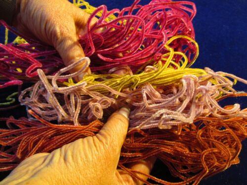 Baby fine Chenille Garland All Pink Shades Gold Japan Lg. 50+yd Lot Vtg NOS SBc