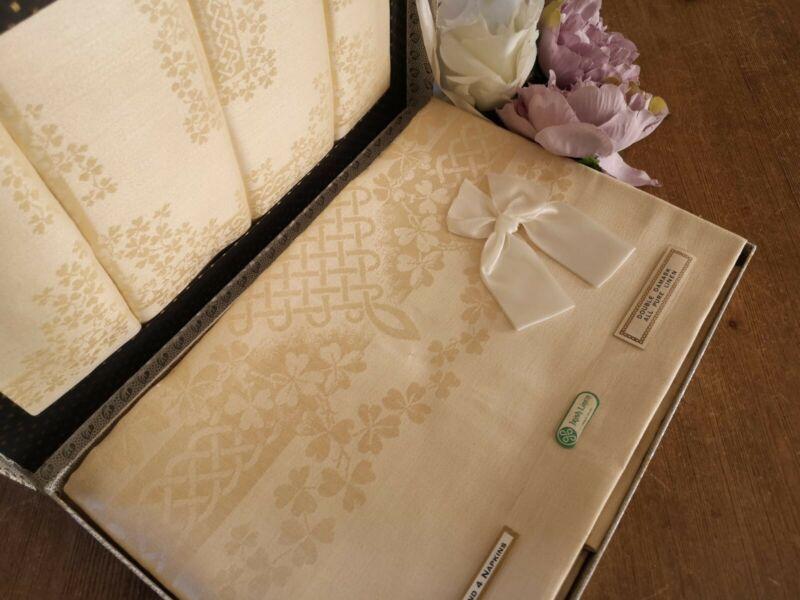 Vintage Richlin Irish linen Double Damask tablecloth and napkins ~ Gold shamrock