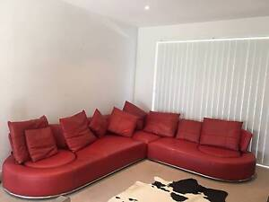 Denai Red Leather Lounge South Coogee Eastern Suburbs Preview