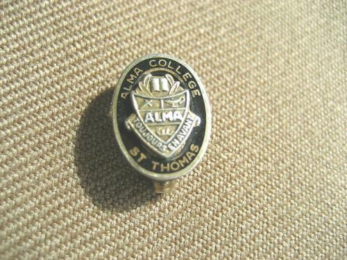 Vintage Alma College St Thomas Toujours Enavant Pin Badge Sterling old 303X