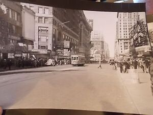 1937 Times Square Paramount Theatre Trolley NYC New York City Photo