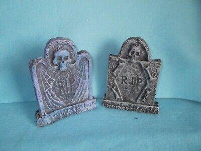 2 Halloween Skeleton Skull RIP Tombstone Prop Haunted House Graveyard Decoration