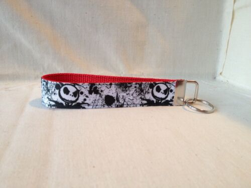 """Jack Skellington Paint Inspired Key Fob/ Wristlet/ Key Chain 1"""" Wide with Ribbon"""