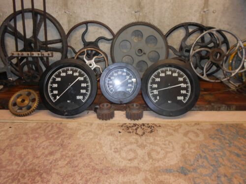 Large Rare Vintage Antique LIGHTED Steampunk Steam Gauge Frankenstein Display