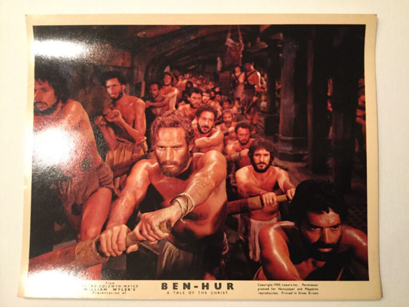 """Lot Of 5 Original vintage movie photos from Ben-Hur. Full Color 8""""x10"""" Very Rare"""