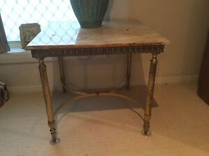 Vintage retro marble & brass occasional table Tuncurry Great Lakes Area Preview