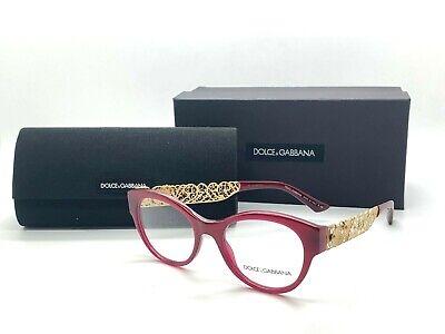 Dolce & Gabbana D&G Eyeglasses DG3184 2681 BURGUNDY/GOLD Size (Dolce Gabbana Reading Glasses)