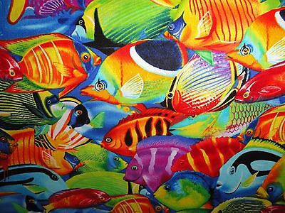 Coral Reef tropical fish cotton fabric blue ocean water quilting & sewing