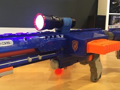 Nerf Compatible Flashlight Rail Mount Unit and LED Flash Light (Combo) Any COLOR